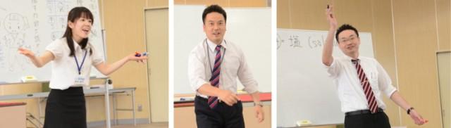 左から舟木政子先生(創学舎)、石田朋彦先生(トーゼミ)、社会科の田中潤先生(洛西進学教室)